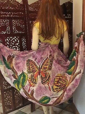 Vintage 1950's Mexican Hand Painted and Sequined Butterfly Circle Skirt