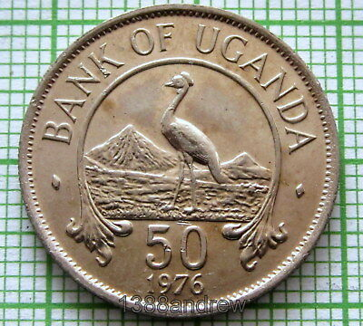 Uganda 1976 50 Cents, East African Crowned Crane, Unc