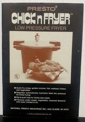Presto Chick n Fryer Low Pressure cooker recipe owner's Manual instructions 1978