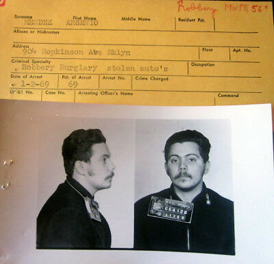 1969 New York City Police MUG Shot Photo Auto Theft
