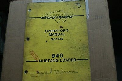 MUSTANG 940 SKID Steer Loader Owner Operator Operation Maintenance Manual  book