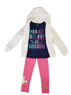 Carter's Girls 3 Piece Outfit Jacket, Top & Pants Yes I Believe In Unicorns