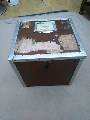 A wood and metal vintage box, covered in Midlands Railway Stickers. Circa 1940.
