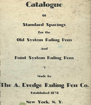 ca1930s-40s Dredge Ruling Pen Company CATALOGUE OF STANDARD SPACINGS