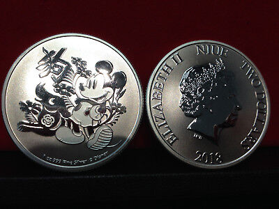 2018 1 oz New Zealand Silver Niue $2 Disney Lunar Year of the Dog (BU)