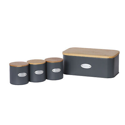 Metal Bamboo Bread Bin + 3 Canister Tin Jar Pastry Storage Box Kitchen Container