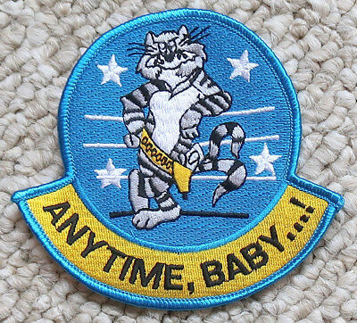 """ANYTIME BABY F-14 TOMCAT NAVY PATCH 4""""x4.25"""" MILITARY"""