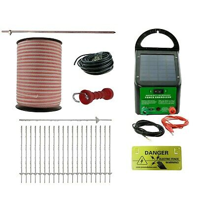Electric Fence Kit Solar Energiser 40 Poly Posts 800m Tape Handle Earth Rod etc