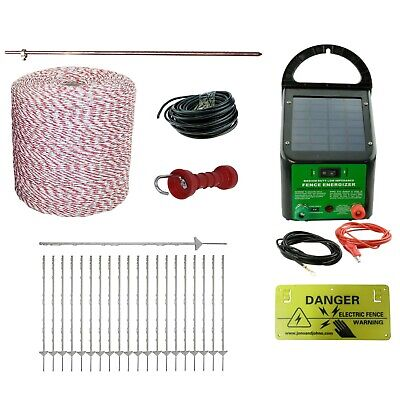 Electric Fence Kit Solar Energiser 40 Poly Posts 1000m Wire Handle Earth Rod etc
