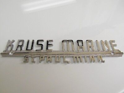 Vintage KRUSE MARINE St. Paul Minnesota BOAT CHROME EMBLEM Dealer Plaque UNUSED