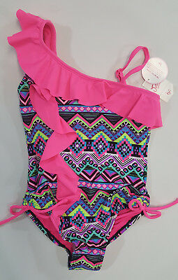 NWT Justice Girls Size 6 7 10 14 16 or 20 Pink Ruffle Aztec Swim Bathing Suit