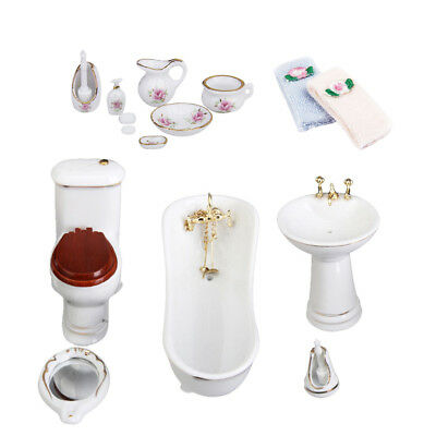 1/12 Scale Miniature Porcelain Bathtub Toilet Dollhouse Bathroom Furniture