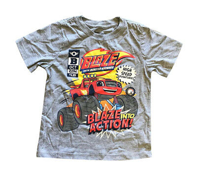 New Summer Blaze and the Monster Machines Grey T-Shirt Size 2 3 4 available