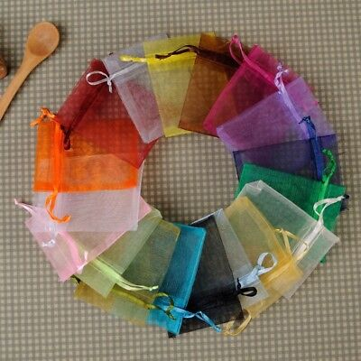 100pcs 9x12cm Sheer Organza Wedding Party Favor Gift Candy Bags Jewelry Pouches