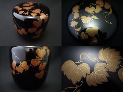Japanese Traditional Lacquer Wooden Tea caddy IVY makie Natsume (327)