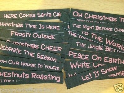 26 Small Christmas Sentiment Banners Card Making Scrapbook Craft Embellishments