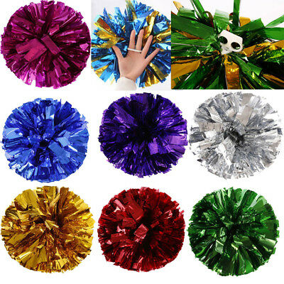 UK Metallic Foil And Plastic Ring Handheld Pom Poms Cheerleading Party Decor