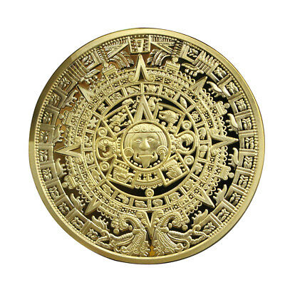 Gold Plated Mayan Aztec Prophecy Souvenir Calendar Collection Commemorative Coin