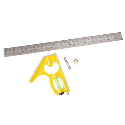 12-Inch Combination Square Ruler Measuring Ruler Angle Protractor -Yellow