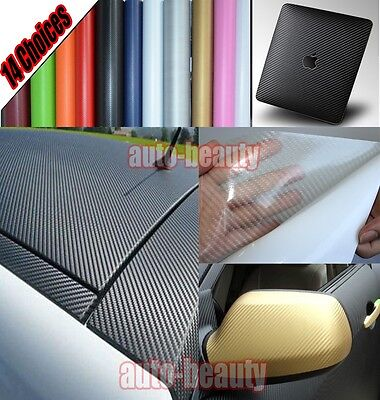Optional - Car 3D Carbon Fiber Vinyl Wrap Sheet Sticker Film Decal - 13 Colours