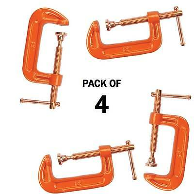 """Pack Of 4 Cast Iron 2"""" 50 Mm G Clamps Wood Working Welding Cramps Copper Plated"""