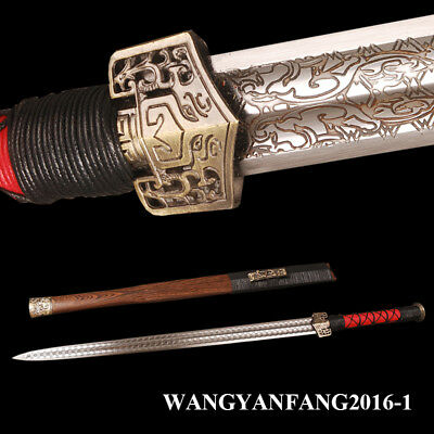 Carbon Steel Chinese Sword Han Dynasty Jian Rosewood Saya Electroplated Pattern