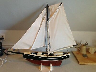 Large Vintage Mid Century Folk Art Carved Hand Crafted Single Mast Sailing Ship