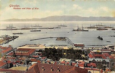 POSTCARD  GIBRALTAR  Harbour &  Ships of  War  (  Posted to UK  from  Gibraltar)