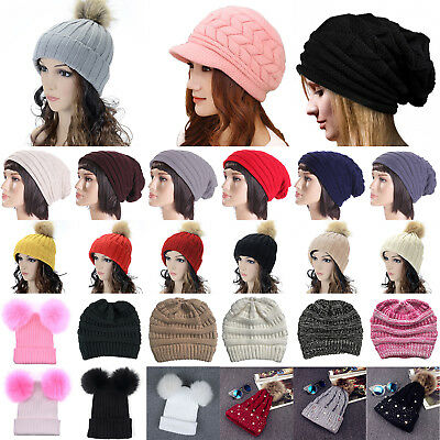 Women Ladies Girl Winter Warm Knit Wool Beanie Hat Crochet Slouchy Baggy Ski Cap