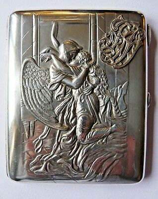 Russian silver cigarette case, gilt interior Angels Moscow 1908-1926 Provenance