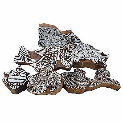 Lot Of 6 Pcs Fish Hand Carved Printing Block Woodblock Pottery Scrapbook Stamp