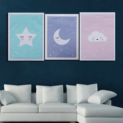 Moon Star Nursery Quote Canvas Nordic Poster Cartoon Art Prints Baby Room Decor