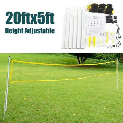 20'x5' Badminton Volleyball Tennis Net Adjustable Height Poles Stand Set Outdoor