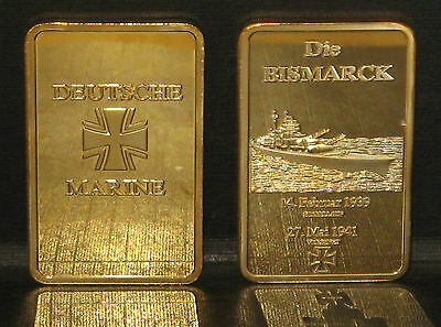 Stunning 24ct Gold Plated 1941 Bismarck commemorative + Certificate