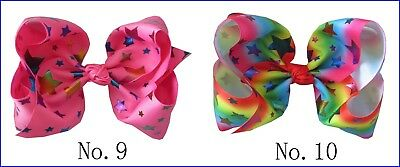 "10 BLESSING National Flag 8"" ABC Hair Bow Clip 3"" Grosgrain Ribbon Rainbow 49#"