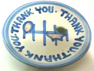 "MA Hadley Pottery Thank You Round Trinket Tip Dish Plate 4"" Coaster Music Note"