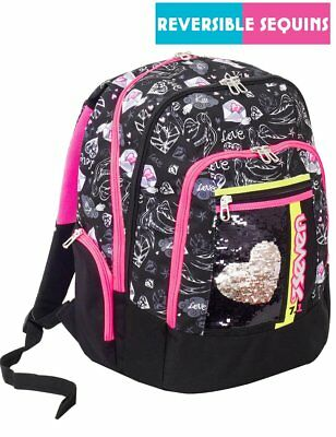 Zaino scuola advanced SEVEN - MEXI GIRL Nero - PATCH con paillettes reversibili