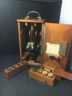 Leitz Wetzlar Brass Antique Microscope 1902 Mikroskop 61817 Oak Case Attachments
