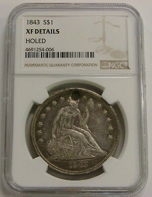 1843 - Seated Liberty Silver Dollar - NGC XF Details