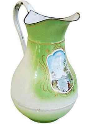 Rare Large Antique Vintage French Enamel Water Pitcher ~ Handpainted Lake Scene