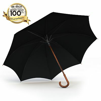 Procella Black 48 Inch Classic Auto Open Walking Stick Umbrella with Wooden Hand