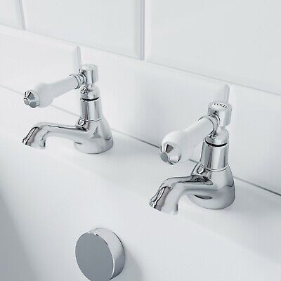 Traditional Bathroom Hot & Cold Twin Bath Taps Brass Chrome Ceramic Lever Handle