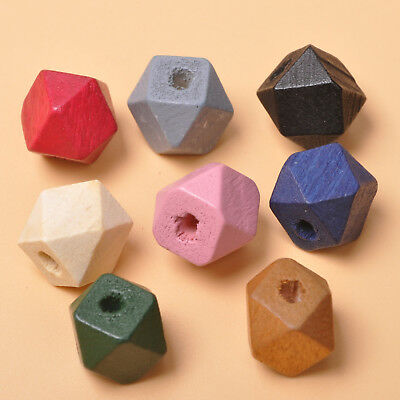 20pcs mix color Natural  Wood Beads Geometric necklace Spacer Wooden Bead 15mm
