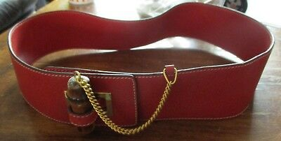 Vintage estate Gucci belt Made in Italy Bright red bamboo closure Unique 29 in