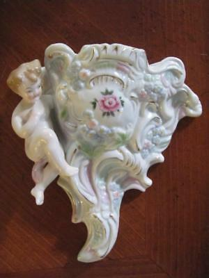 Vintage Beautiful Ornate Porcelain L&M Inc Cherub Rose Wall Pocket