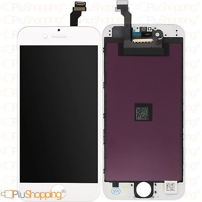 Touch Screen Lcd Display Retina Per Apple Iphone 6 Vetro Schermo Bianco + Frame