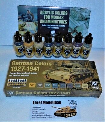 WWII German Colors 1927-1941 Airbrush Set 8 Farben Vallejo Model Air 71205 Neu