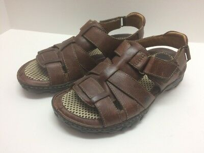 1f6a6065d76e Men s Brown Leather BORN STRAFFORD FISHERMAN Sandals Shoes M6421 Size 8   41