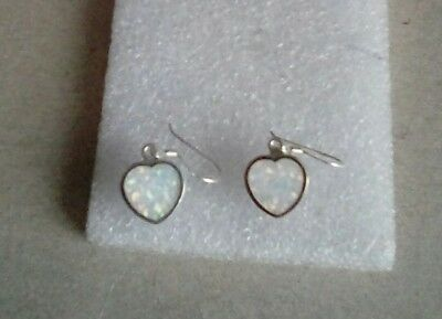 new silver 925 white fire opal heart drop earrings - 3g