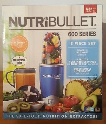 NutriBullet 600 Series 8 Piece Blender Mixer Extractor Smoothie Ice Blue 600W